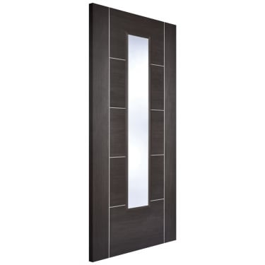 Internal Dark Grey Fully Finished Laminate Vancouver 1L Door with Clear Glass (LAMDGRVANGL)