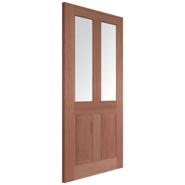 Internal Hardwood Unfinished Malton 2L Door with Clear Bevelled Glass (MALCG)