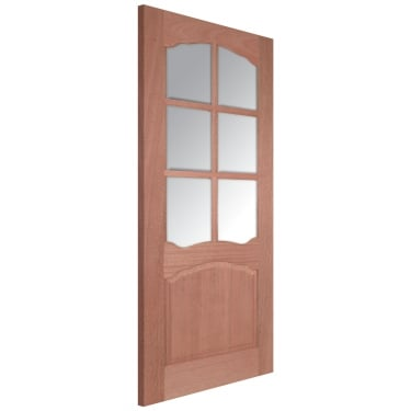 Internal Hardwood Unfinished Riviera 6L Door with Clear Bevelled Glass