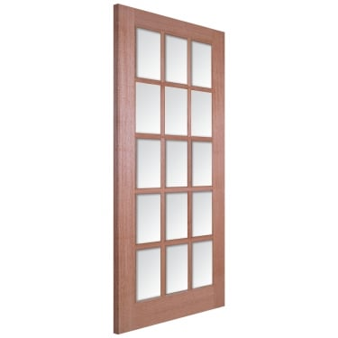 Internal Hardwood Unfinished SA 15L Door with Clear Bevelled Glass
