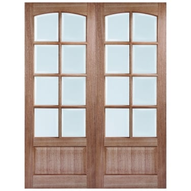 Internal Hardwood Unfinished Worthing 16L Pair Door with Clear Bevelled Glass