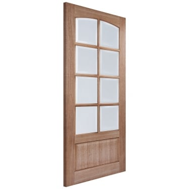 Internal Hardwood Unfinished Worthing 8L Door with Clear Bevelled Glass (WORHWDGL)