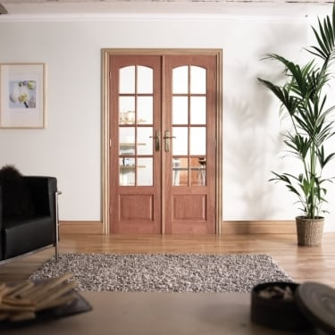 Internal Hardwood W4 Room Divider With Clear Bevelled Glazing