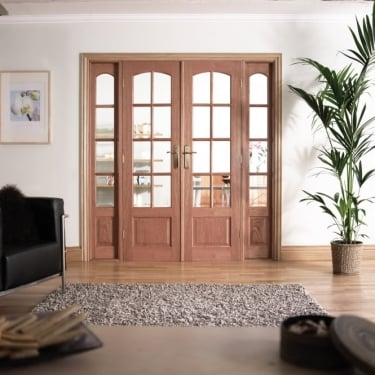 Internal Hardwood W6 Room Divider With Clear Bevelled Glazing