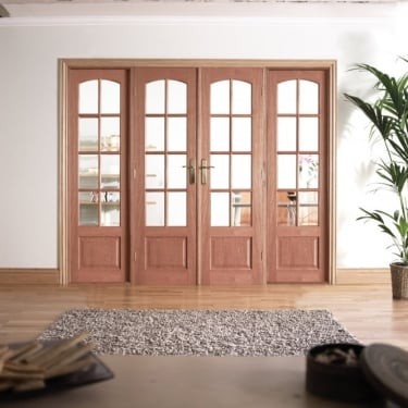 Internal Hardwood W8 Room Divider With Clear Bevelled Glazing