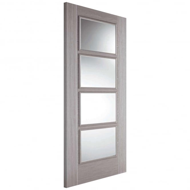 LPD Internal Light Grey Fully Finished Vancouver 4L Door With Clear Glass