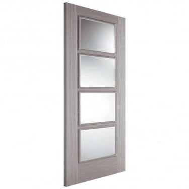 Internal Light Grey Fully Finished Vancouver 4L Door With Clear Glass