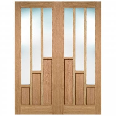 Internal Oak Fully Finished Coventry 6L Pair Door with Clear Glass (PFOPRSCOVGL)