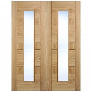Internal Oak Fully Finished Edmonton 2L Pair Door with Clear Glass (OPRSEDMGL)