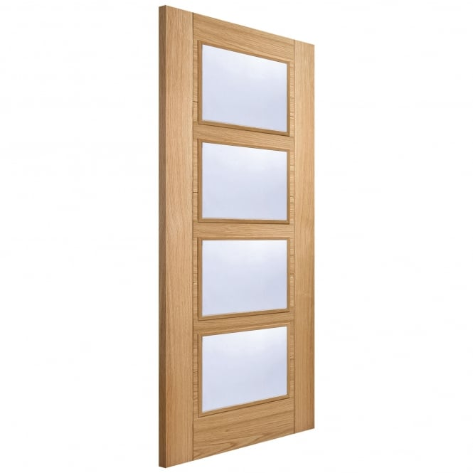 LPD Doors Internal Oak Fully Finished Vancouver 4L FD30 Fire Door with Clear Glass