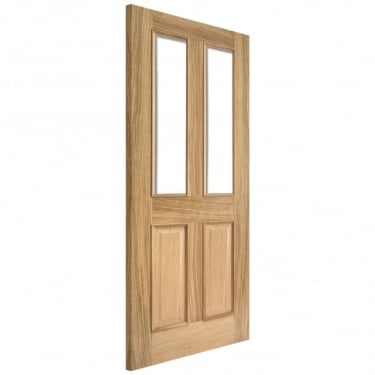 Internal Oak Richmond Elegance Fire Door With Raised Mouldings & Clear Glass