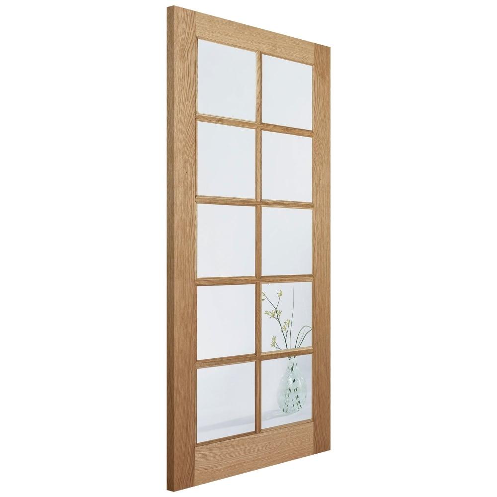 Lpd sa10 oak un finished clear glass internal door for 10 light door