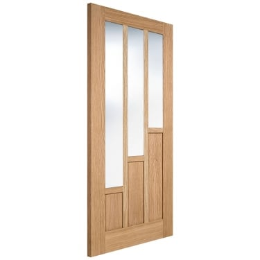 Internal Oak Unfinished Coventry 3L Door with Clear Glass