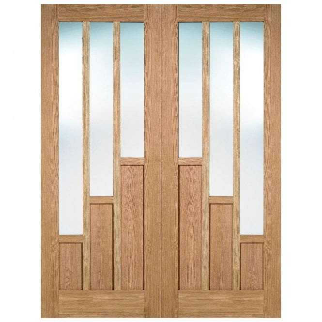 Internal Oak Unfinished Coventry 6L Pair Door with Clear Glass (OPRSCOVGL)  sc 1 st  Leader Doors & LPD Doors Internal Oak Unfinished Coventry 6L Pair Door with Clear ...