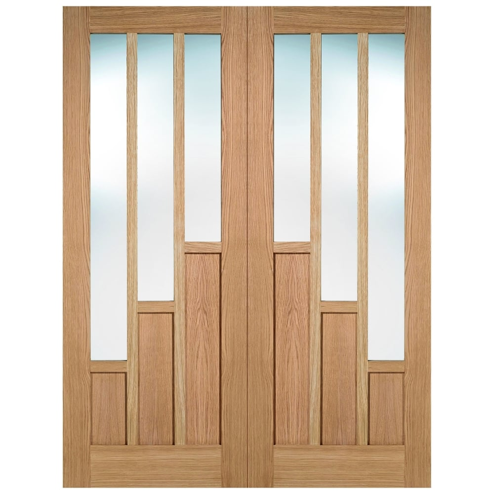 Internal Oak Unfinished Coventry 6L Pair Door with Clear Glass  sc 1 st  Leader Doors & LPD Internal Oak Unfinished Coventry Glazed Door | Leader Doors