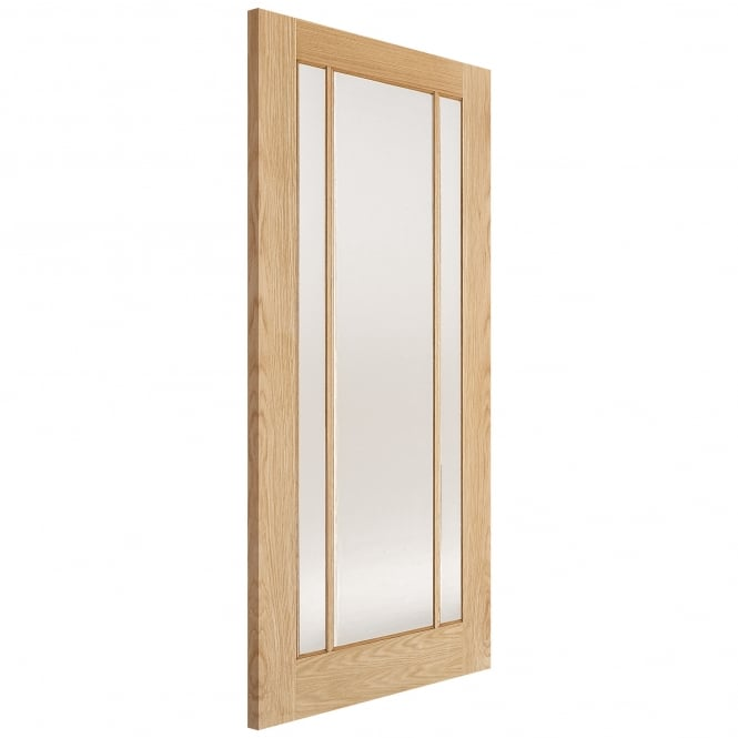 LPD Doors Internal Oak Unfinished Lincoln 3L Door with Clear Glass
