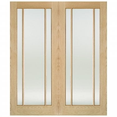 Internal Oak Unfinished Lincoln 6L Pair Door with Clear Glass (OPRSLIN)