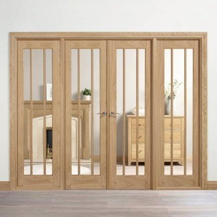 Internal Oak Unfinished Lincoln Room Divider & Interior French Doors | Internal Room Dividers | Leader Doors