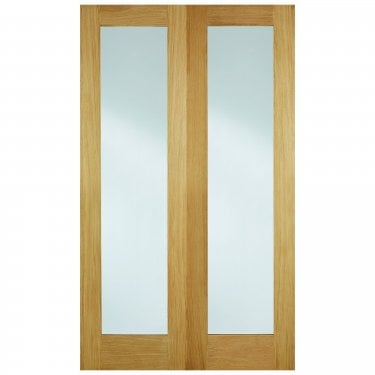 Internal Oak Unfinished Pattern 20 2L Pair Door with Clear Glass (OPRS20G)