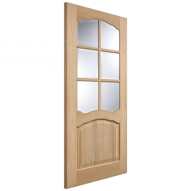 LPD Doors Internal Oak Unfinished Riviera 6L Door with Clear Bevelled Glass and Non-Raised Mouldings