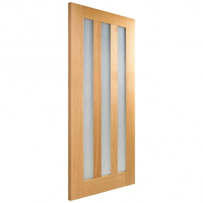 LPD Internal Oak Unfinished Utah Contemporary Door With Frosted Glass