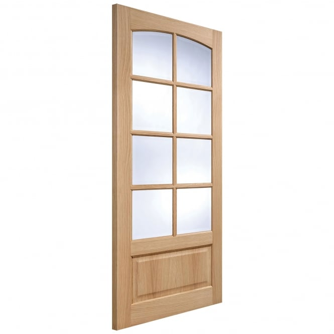 LPD Doors Internal Oak Worthing 8 Light Elegance Door With Clear Bevelled Glass