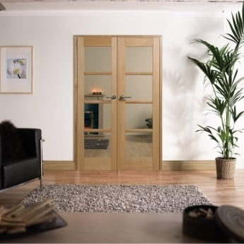 LPD Doors Internal Pre-Finished Oak Oslo W4 Room Divider With Clear Glazing