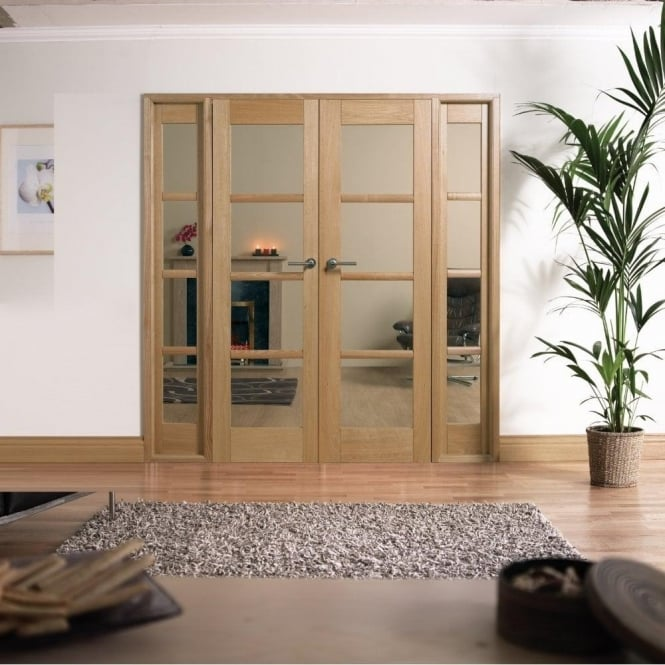 LPD Doors Internal Pre-Finished Oak Oslo W6 Room Divider With Clear Glazing