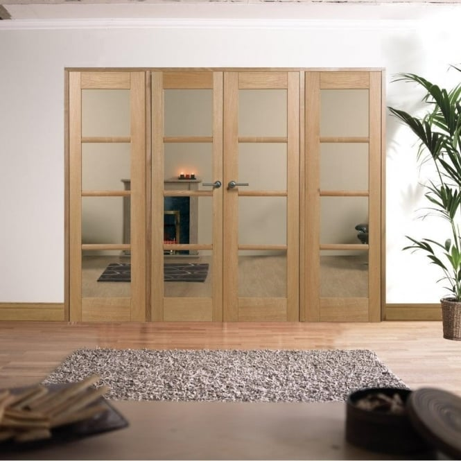 LPD Doors Internal Pre-Finished Oak Oslo W8 Room Divider With Clear Glazing