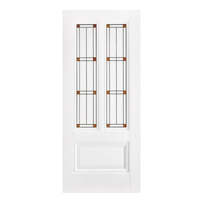 LPD Doors Internal Solid White Primed Peony Door with Leaded Glass