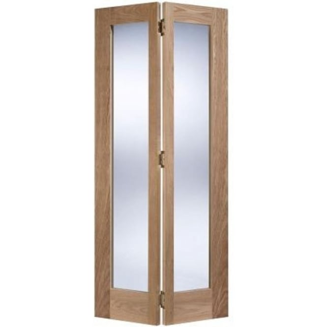 LPD Doors Internal Unfinished Oak Contemporary Pattern 10 Bi-Fold Door With Clear Glass