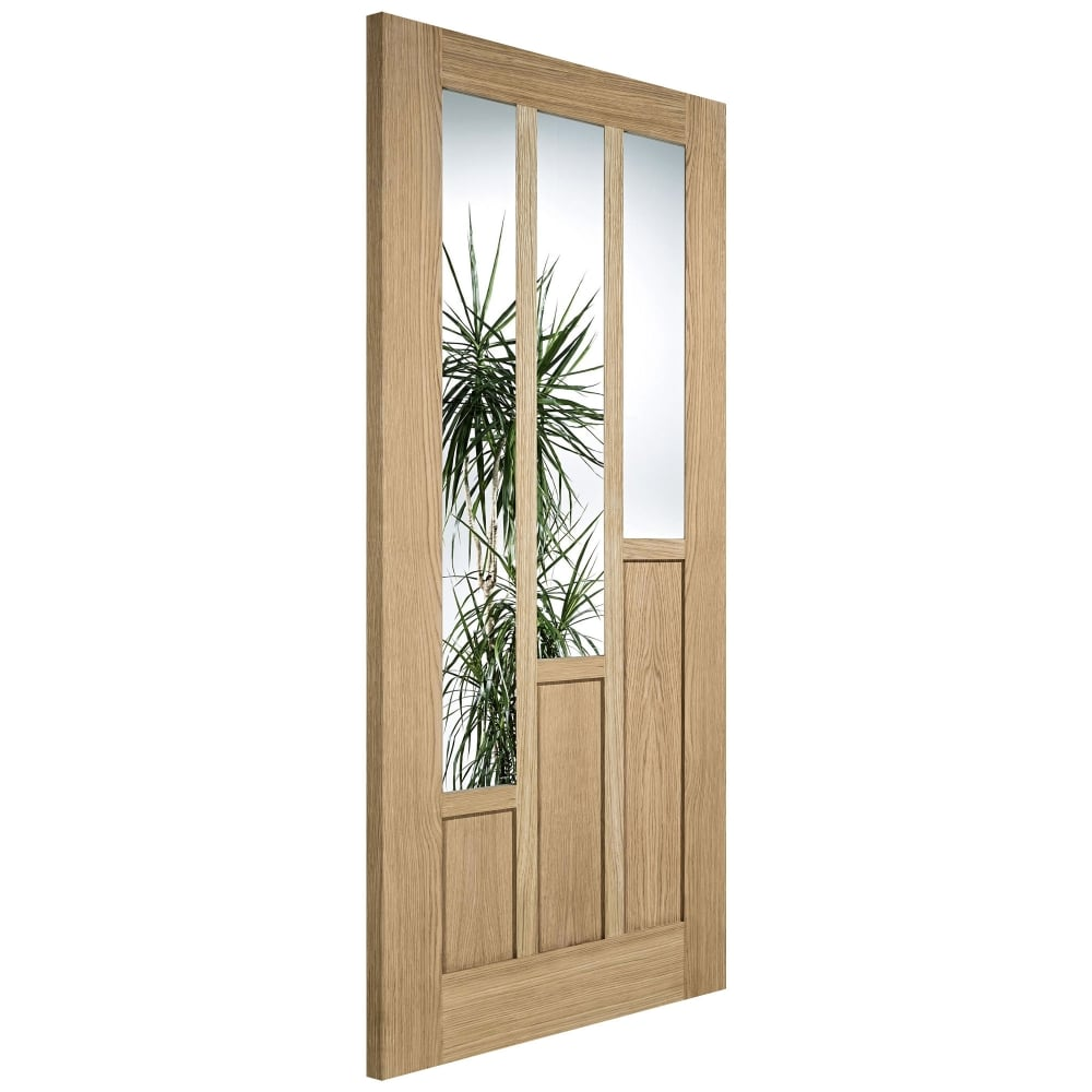 Lpd Coventry Oak Un Finished Clear Glass Internal Door