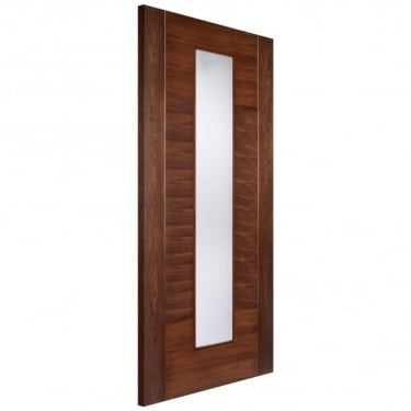 Internal Walnut Fully Finished Europa Aragon 1L Door with Frosted Glass