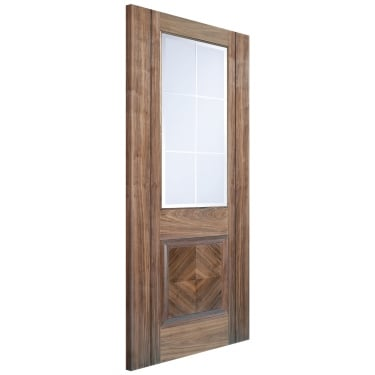 Internal Walnut Fully Finished Valencia 1L Door with Frosted Bevelled Glass