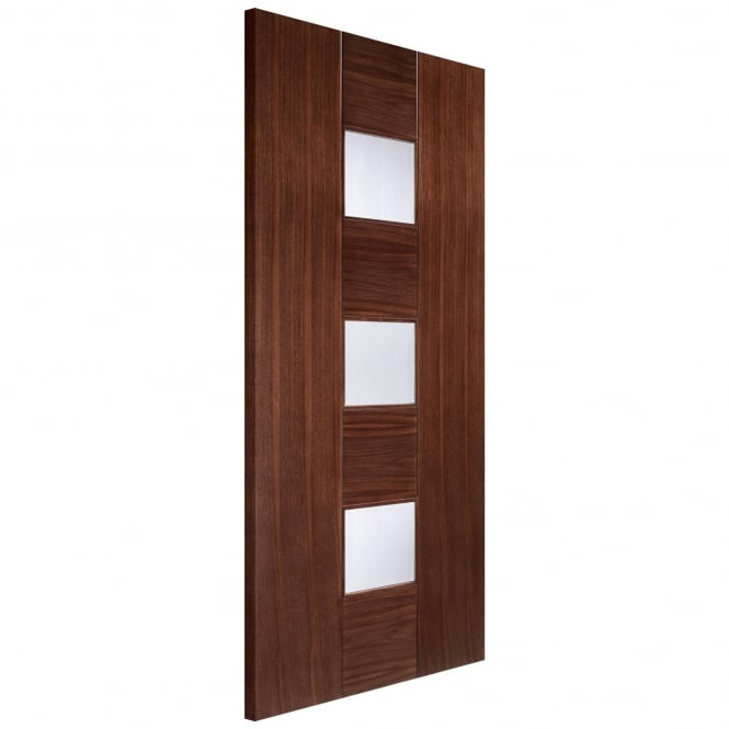 LPD Doors Internal Walnut Pre-Finished Catalonia Europa Door with Linea Glass