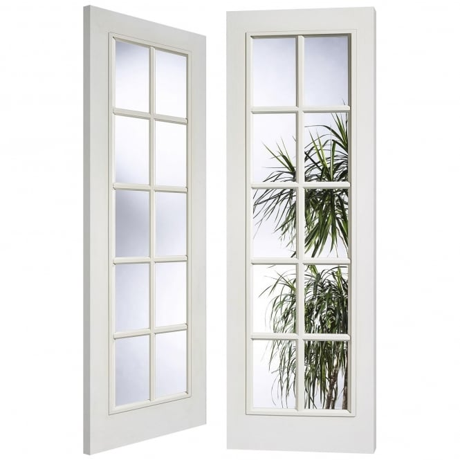 LPD Doors Internal White Moulded SA 10L Pair Door With Clear Glass