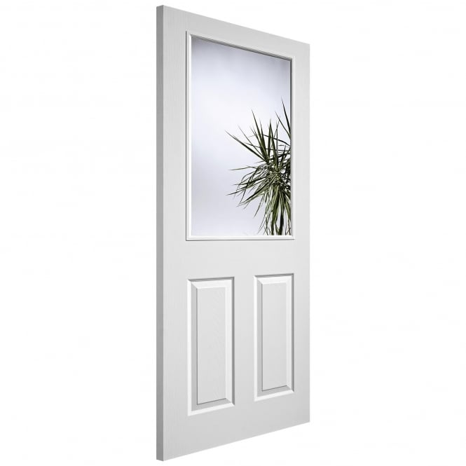Internal White Moulded Textured 1L/2P Pre-Glazed Door