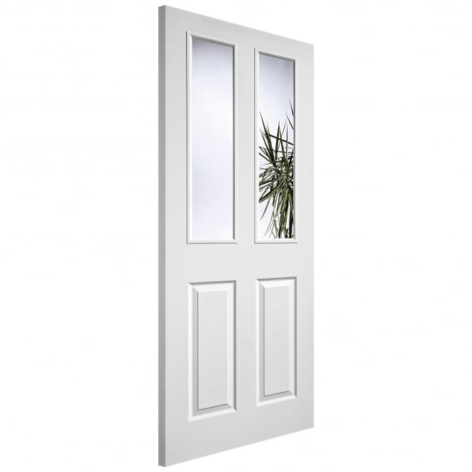 LPD Internal White Moulded Textured 2L/2P Pre-Glazed Door