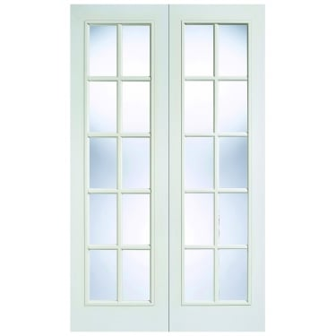 Internal White Moulded Unfinished SA 20L Pair Door with Clear Glass