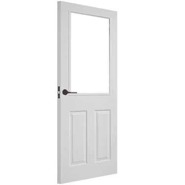 Internal White Moulded Unfinished Textured 1L Door with Clear Glass