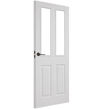 Internal White Moulded Unfinished Textured 2L Door with Clear Glass