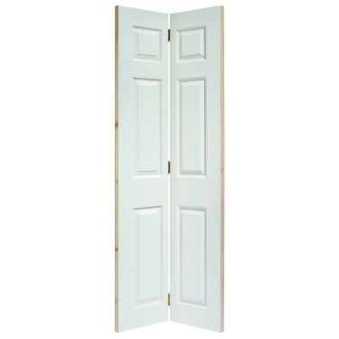 Internal White Moulded Unfinished Textured Bi-Fold 6P Square Top Door