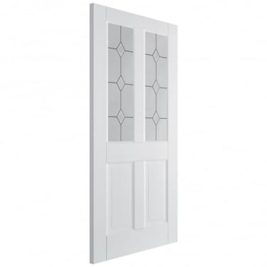 Internal White Primed Canterbury 2P/2L Door with Diamond Bevelled Glass