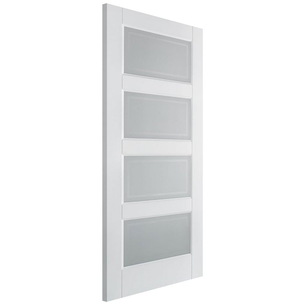 Lpd contemporary white primed frosted glass 4 panel for Doors with panels