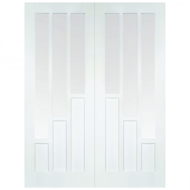 LPD Doors Internal White Primed Coventry 6L Pair Door with Clear Glass
