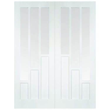 Internal White Primed Coventry Pair Doors with Clear Glass