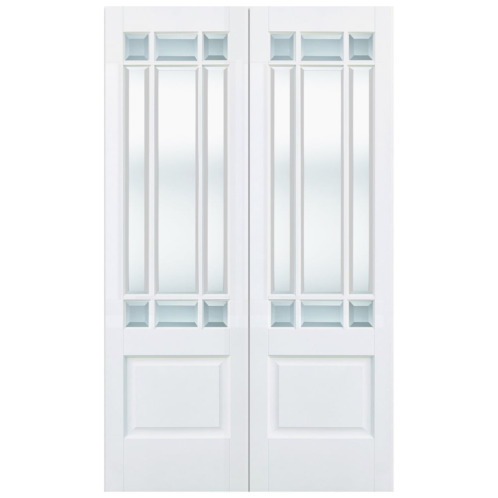 Internal White Primed Downham 18L Pair Door with Clear Bevelled Glass  sc 1 st  Leader Doors & LPD Internal White Primed Downham Glazed Door | Leader Doors