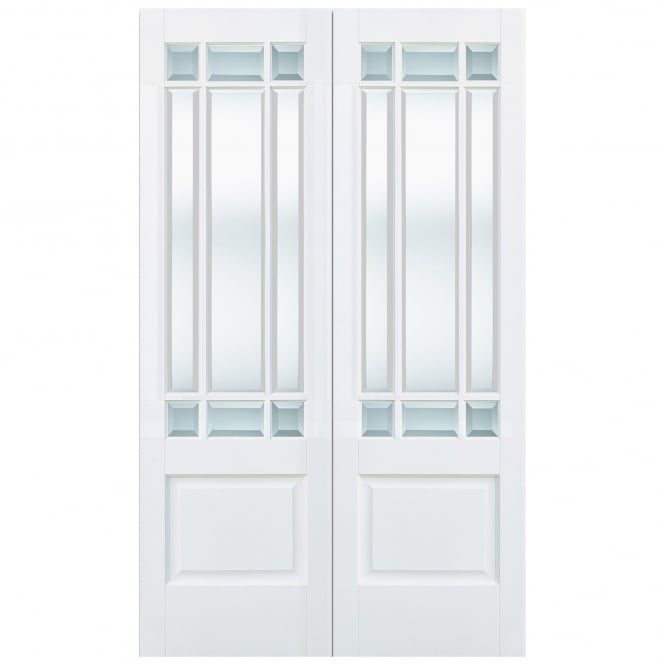 LPD Doors Internal White Primed Downham 18L Pair Door with Clear Bevelled Glass