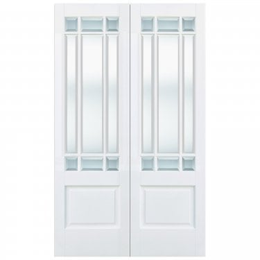 Internal White Primed Downham 18L Pair Door with Clear Bevelled Glass (WFPRSDOWCG)