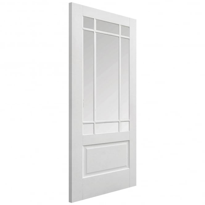 LPD Internal White Primed Downham Door with Clear Bevelled Glass